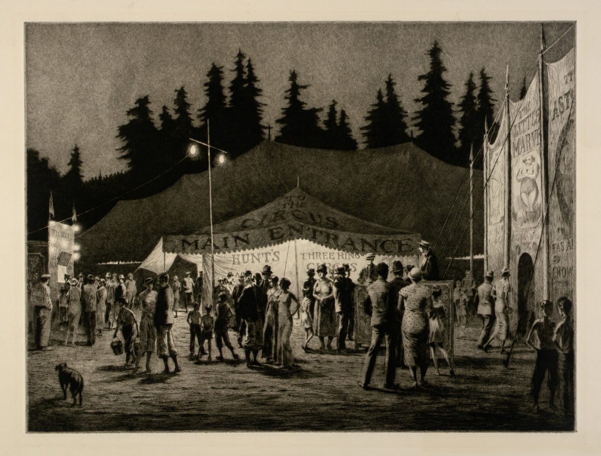 CIRCUS NIGHT Martin Lewis 1933 drypoint and sandpaper ground on paper