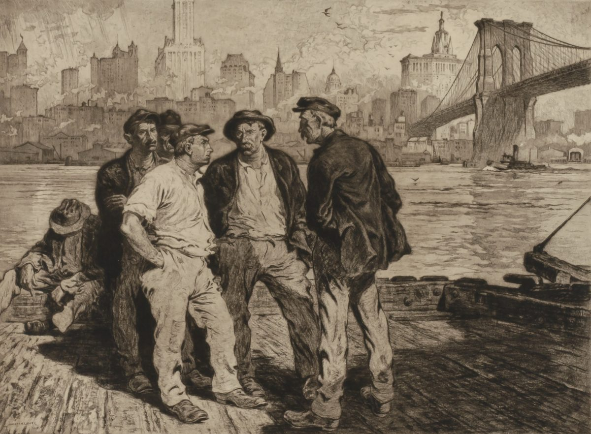 DOCK WORKERS UNDER THE BROOKLYN BRIDGE Martin Lewis ca. 1916-1918, printed 1973 aquatint and etching on paper