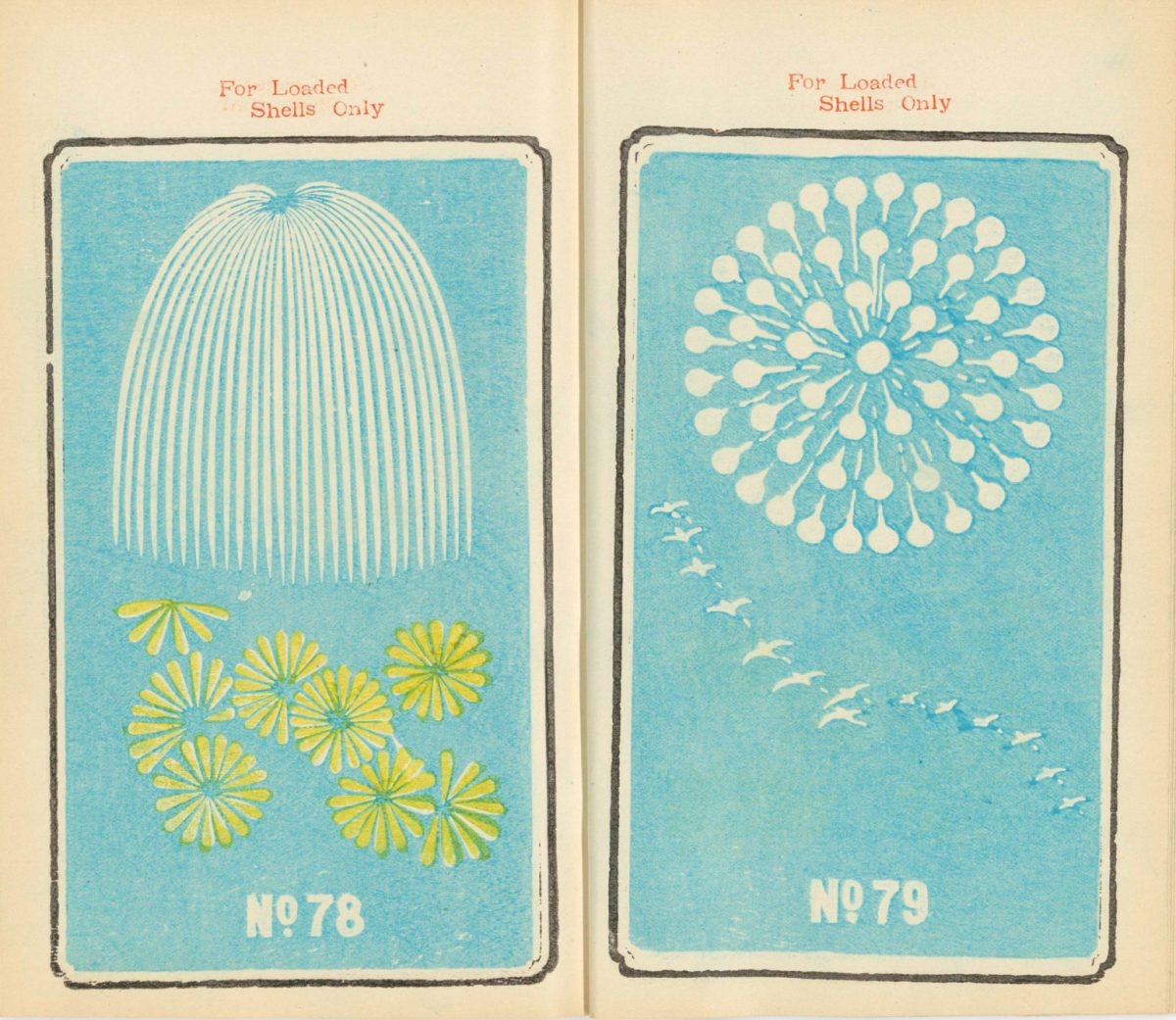 19th Century Firework illustrations from Japan
