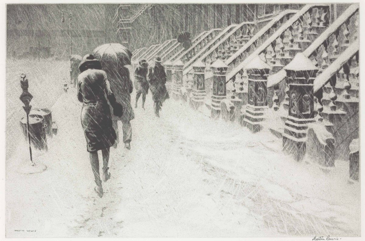 MARTIN LEWIS (1881-1962) Stoops in Snow