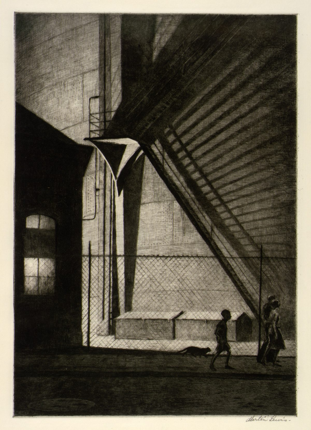 SHADOW MAGIC Martin Lewis 1939 drypoint on paper