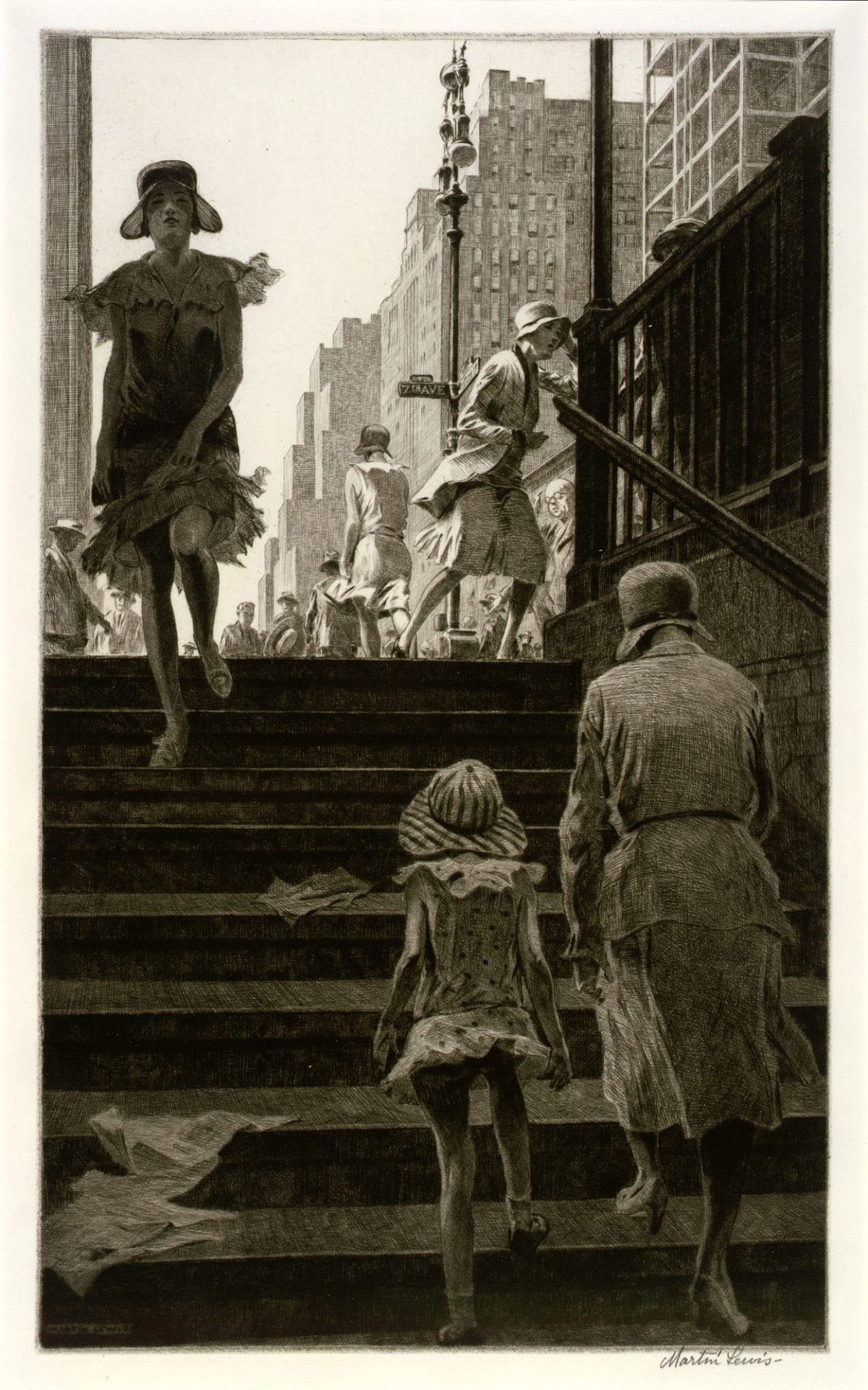 SUBWAY STEPS Martin Lewis 1930 drypoint on paper