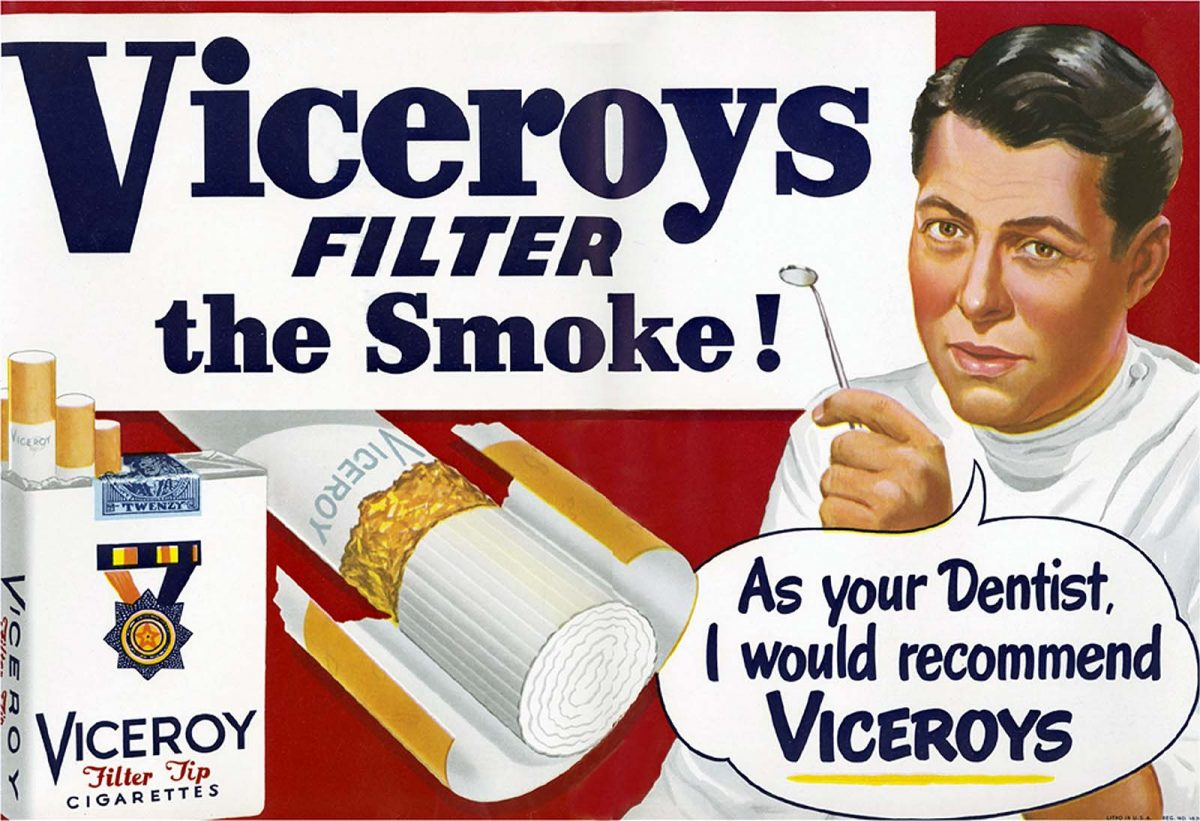 tobacco doctors endorsements advertising Viceroys