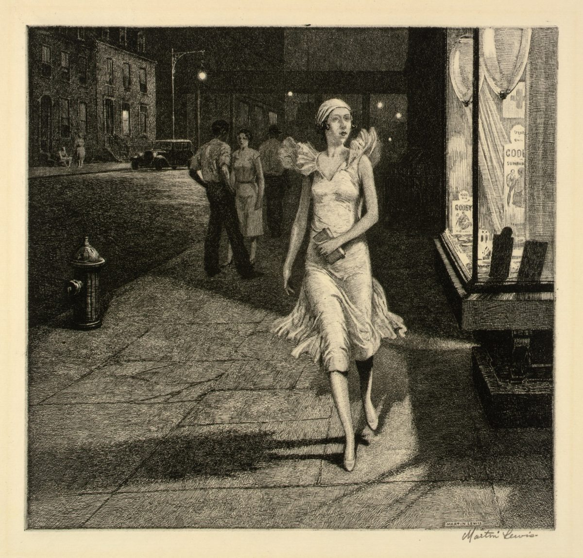 NIGHT IN NEW YORK Martin Lewis 1926 etching on paper