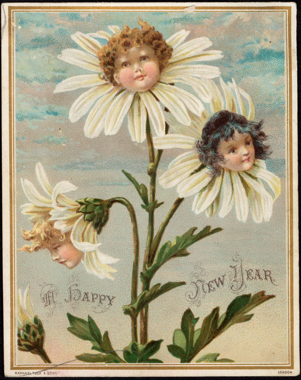 """A Happy New Year"" (Raphael Tuck & Sons, 1870–1900) (via Boston Public Library)"