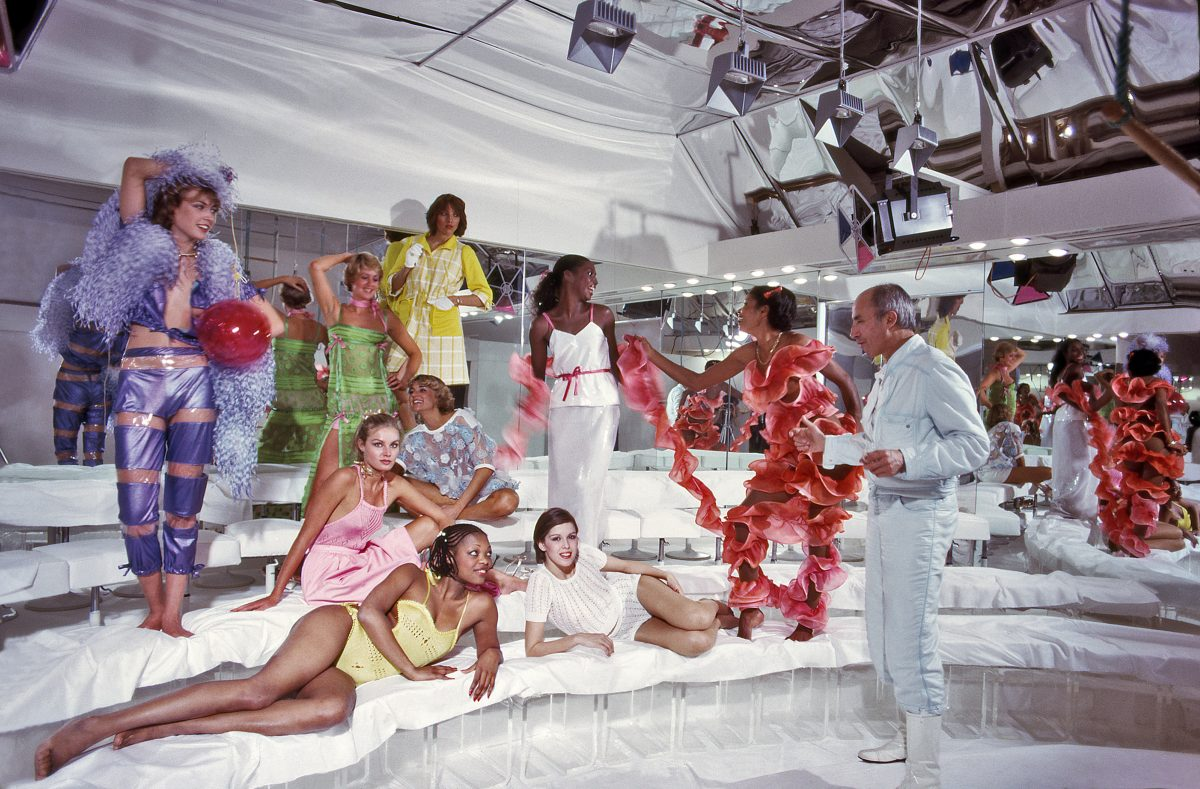 André Courrèges with models, Paris, 1977 by harry benson