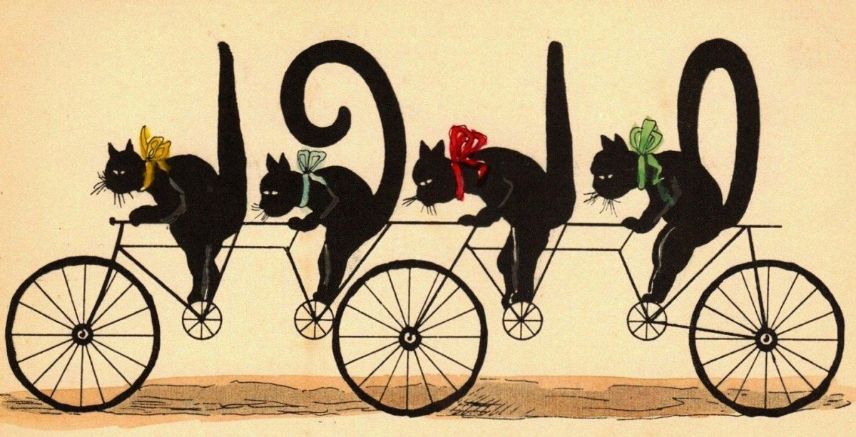 cats greeting card new year vintage