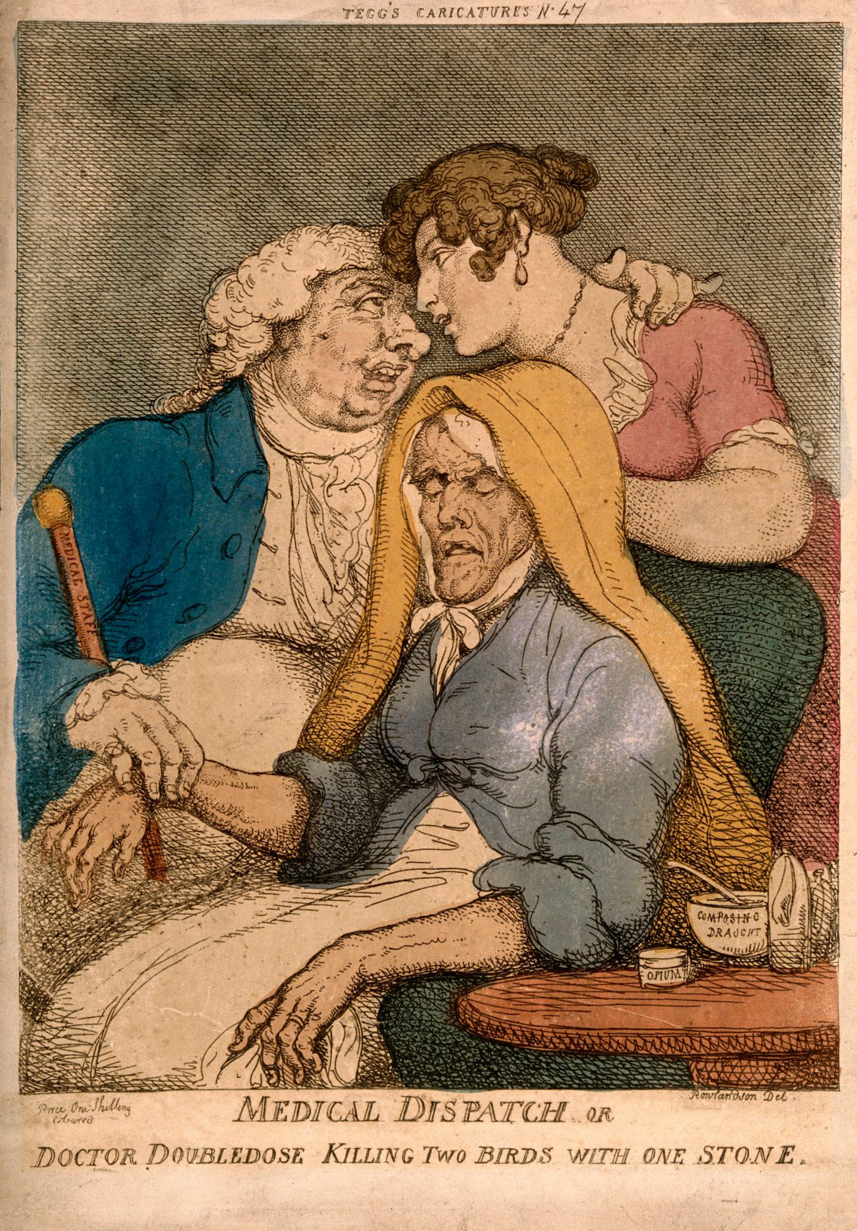 A lecherous doctor taking the pulse of an old woman whilst fondling a young one. Coloured etching by T. Rowlandson, 1810.