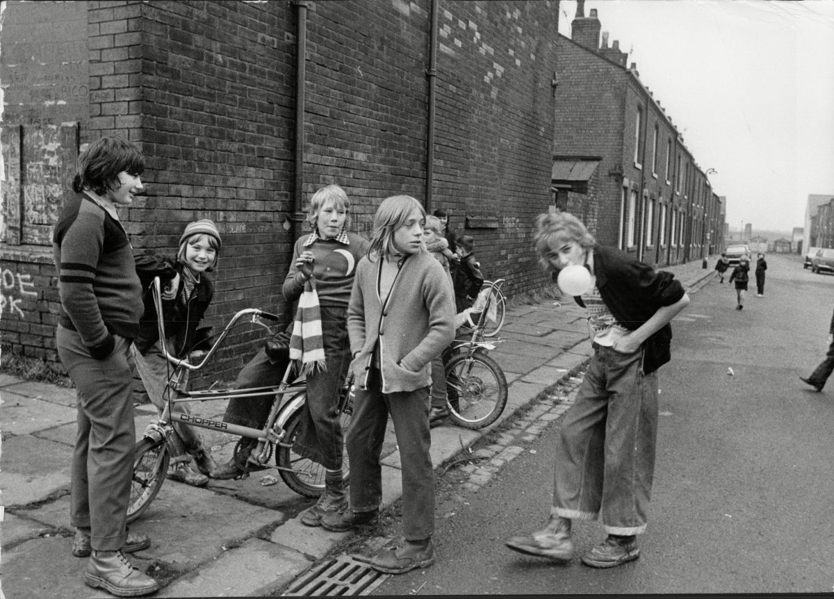 Photo by Peter Pittilla: The Village Of Gin Pit Lancashire, England. Children Of The Village With Raleigh Chopper Bikes - 1973