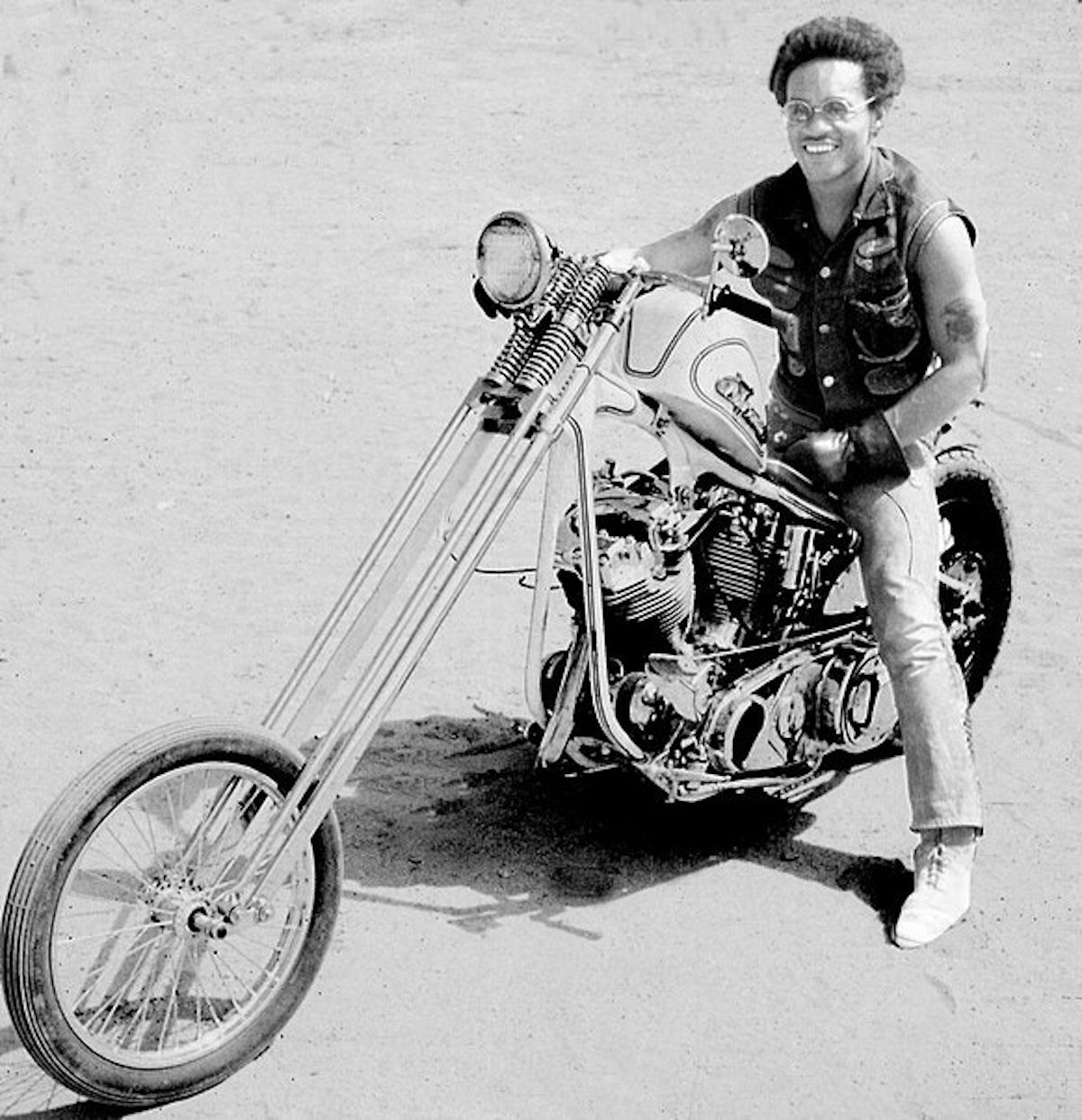 Clifford Vaughs on a chopper in the 1960s