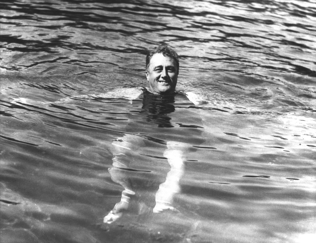 FDR swimming in a Warm Springs, GA pool. 1929