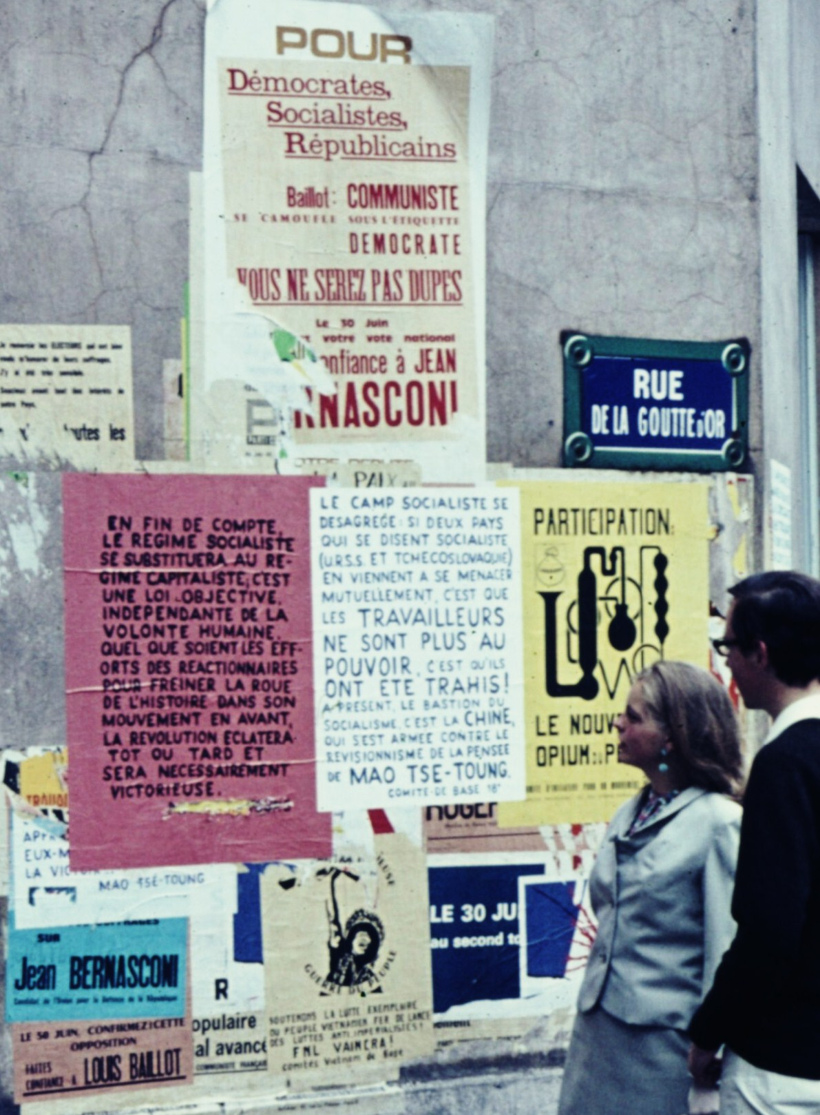 Posters in Paris in July 1968 Robert Schediwy - Self-photographed (slide) Posters on a wall - the remnants of May 1968.