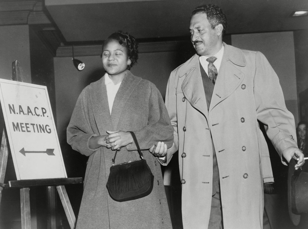 Thurgood Marshall, the Chief Counsel for the NAACP with Rosa Parks in 1956. Parks joined the Montgomery, Alabama chapter of the NAACP in 1943 and was the chapters secretary in 1956.