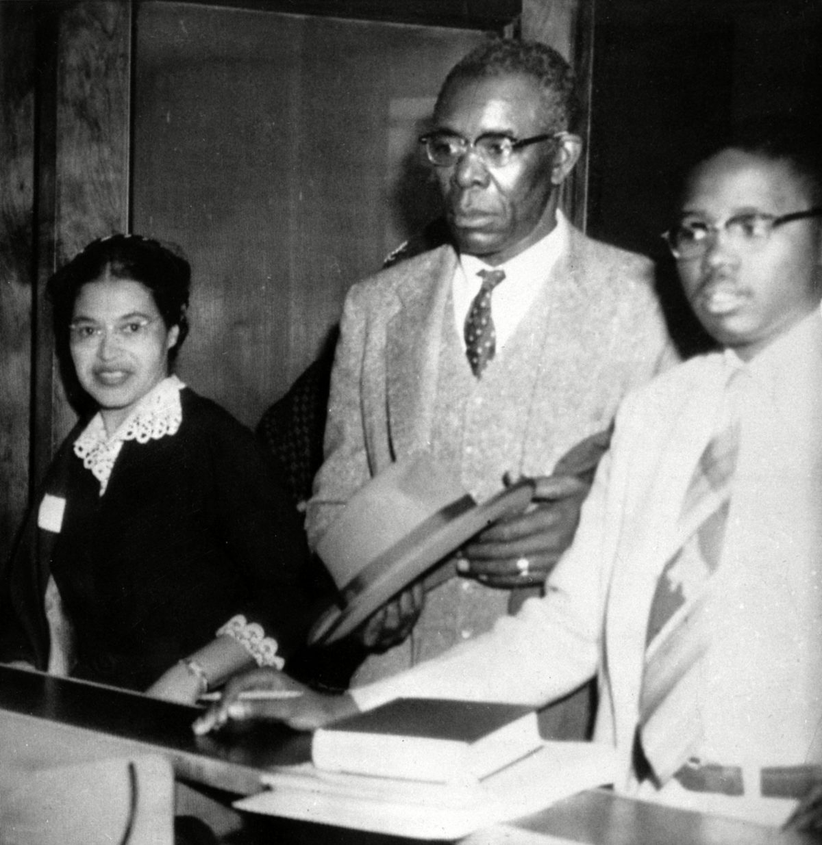 Rosa Parks Rosa Parks, left, who was fined $10 and court costs for violating Montgomery's segregation ordinance for city buses, makes bond for appeal to Circuit Court. Signing the bond were E.D. Nixon, center, former state president of the NAACP, and attorney Fred Gray. Parks' arrest for refusing to give up her seat to a white man on Dec. 1, 1955 touched off the Montgomery bus boycott. Her act of civil disobedience got relatively little attention, noted briefly in The Montgomery Advertiser. The story went national Dec. 5, 1955, when the AP wrote of a plan to make Parks the test case for laws segregating public transportation 5 Dec 1955
