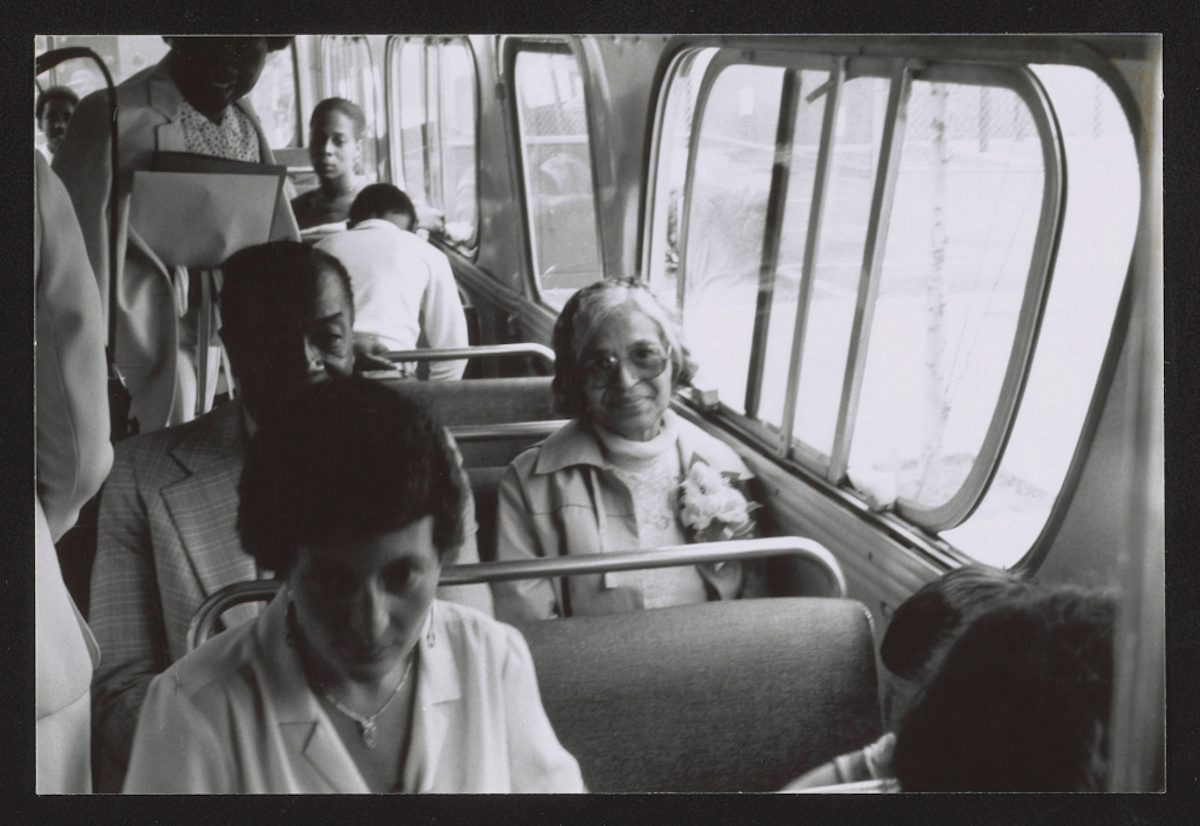 Rosa Parks on a Detroit city bus in 1995