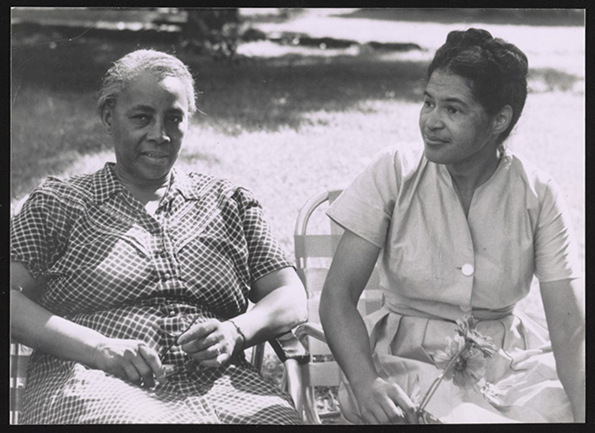 Rosa Parks seated with organizer and educator Septima Clark