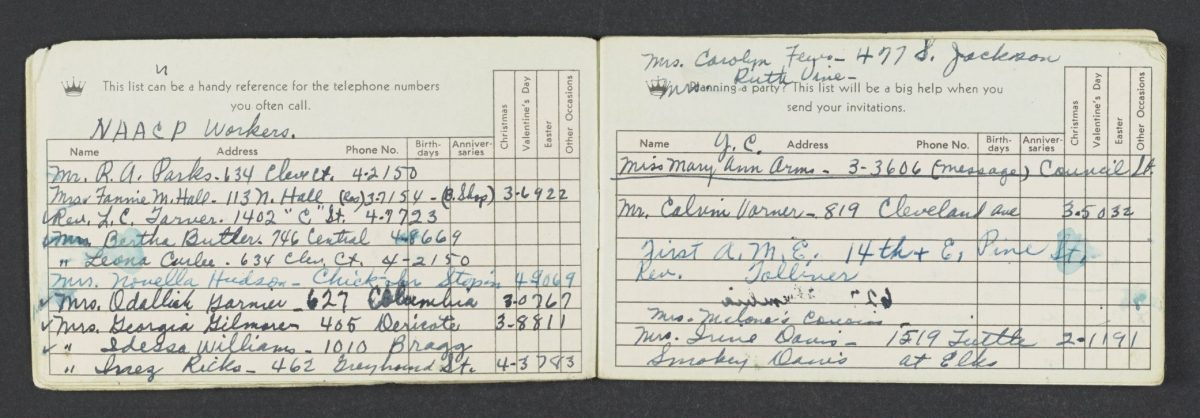Rosa Parks handwritten notebook for Montgomery Bus Boycott carpool organizing