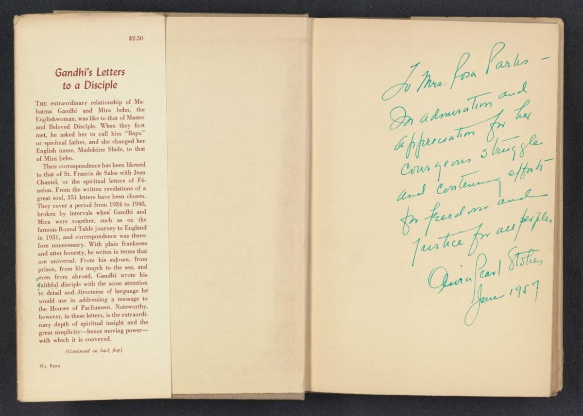 Rosa Parks copy of Gandhi's Letters to a Disciple