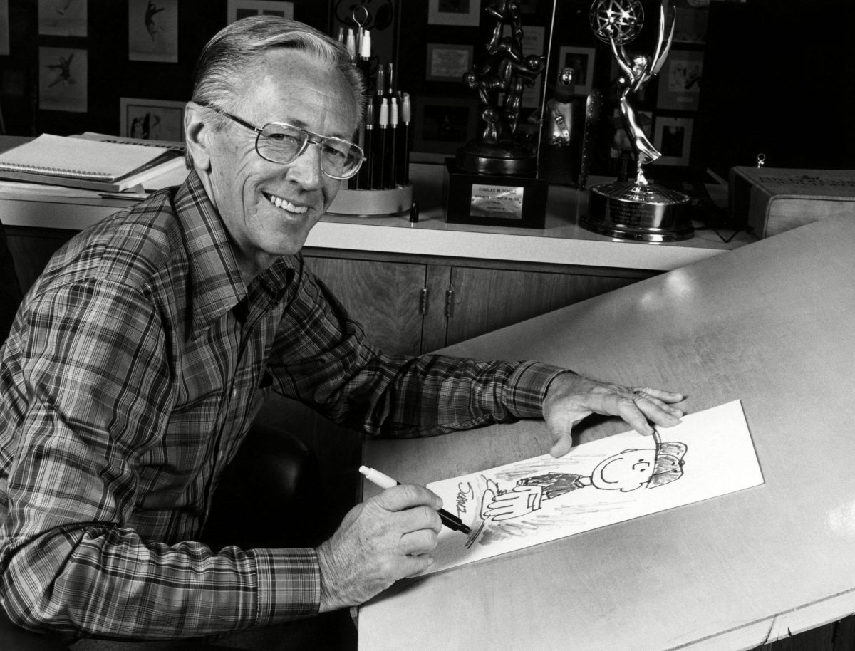 Charles M. Schulz, (1922-2000), American cartoonist and creator of the comic strip Peanuts, circa 1970s. Snoopy