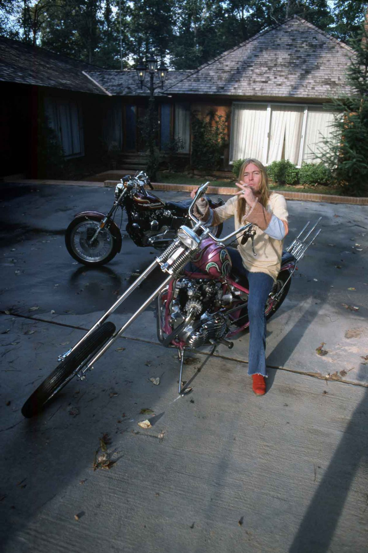 Greg Allman on his chopper
