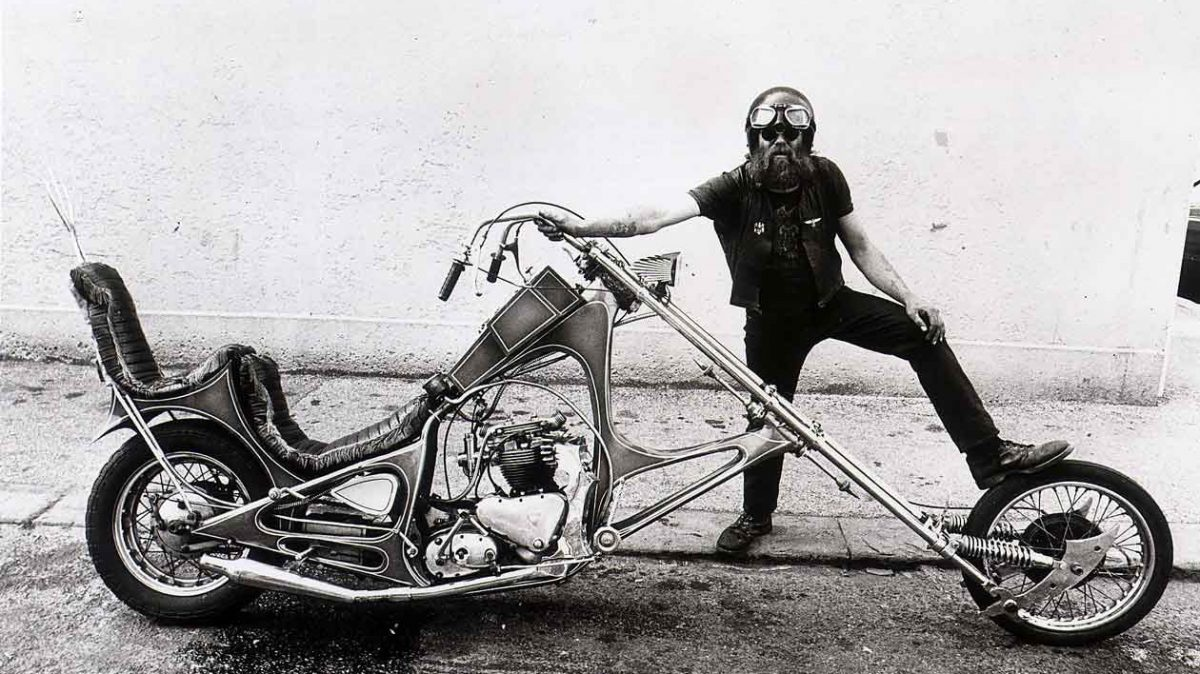 Long chopper motorcycle and rider