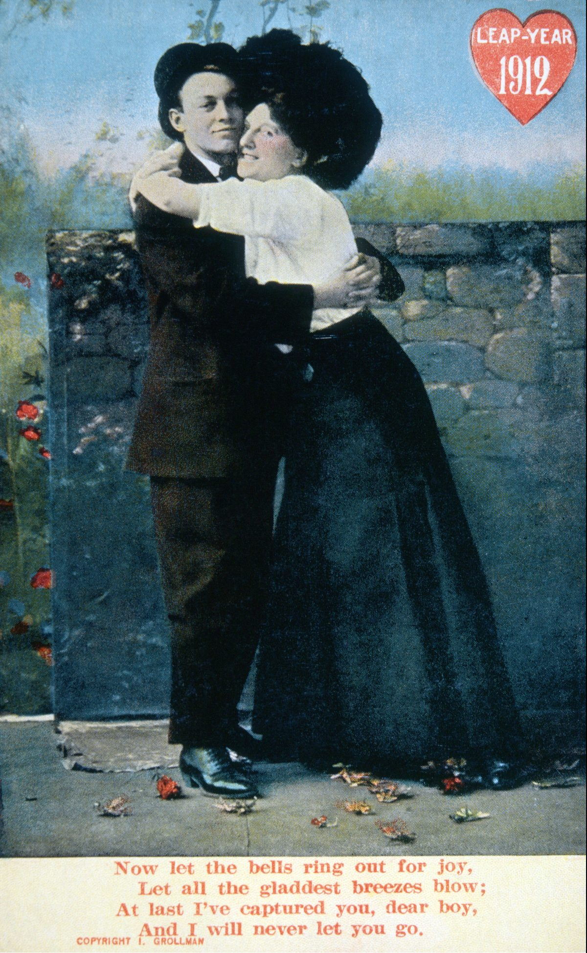Couple Hugging Next to Stone Wall, Leap Year, Postcard, circa 1912 1912