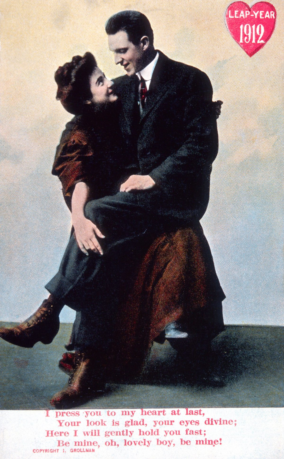 Man Seated on Woman's Lap, Leap Year, Postcard, circa 1912  1912