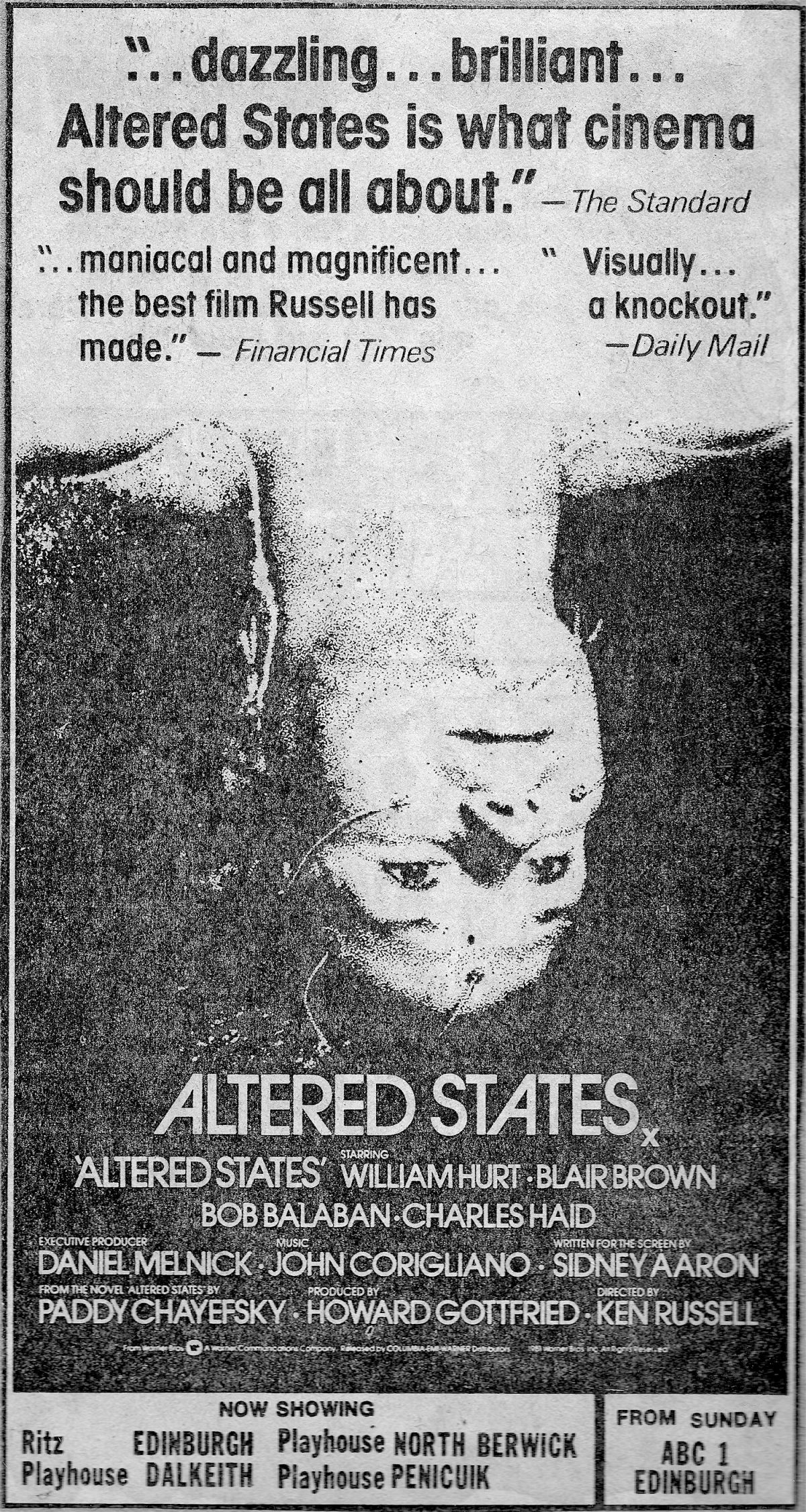 Ken Russell, Altered States, advert, Paul Gallagher