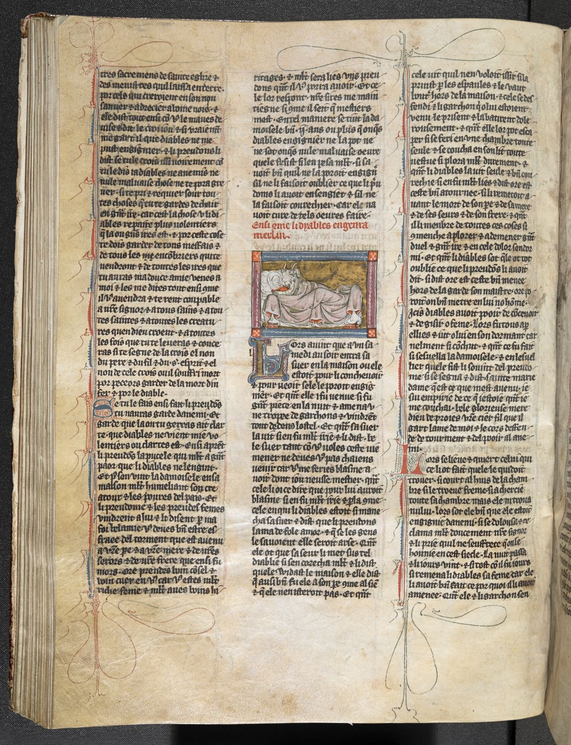 L'estoire del Saint Graal (ff. 1-76); L'estoire de Merlin (ff. 76-216) France, N. (Saint-Omer or Tournai); c. 1316