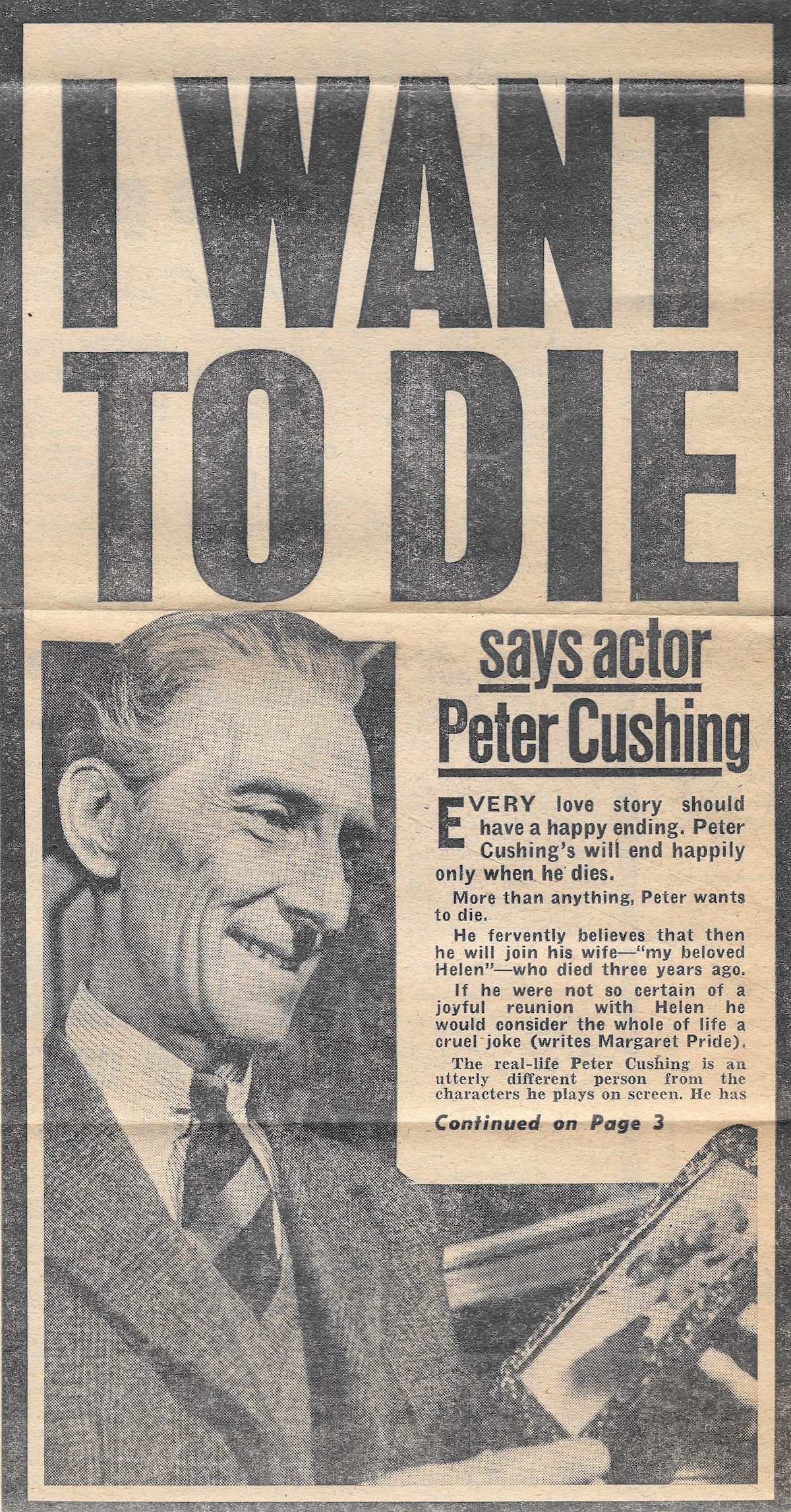 Peter Cushing, newspaper, Reveille