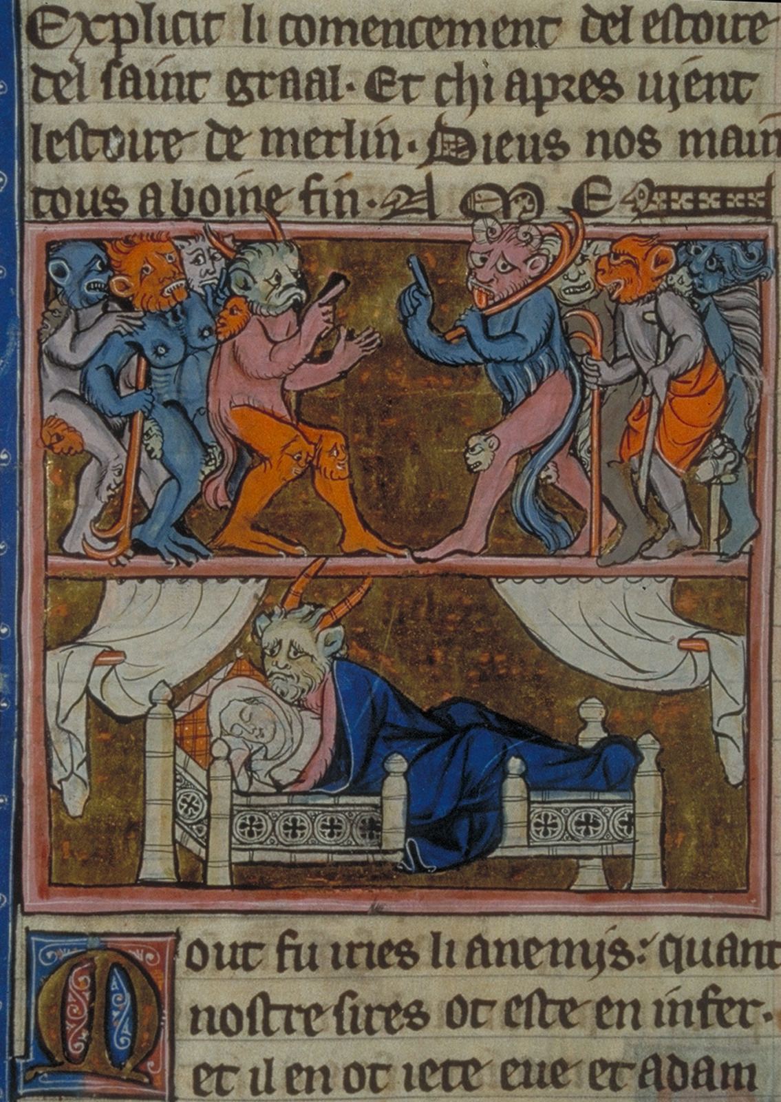 THE CONCEPTION OF MERLIN 2 Robert de Boron, L'Estoire de Merlin, Northern France ca. 1280-1290. Paris, BNF, Fr. 95, fol. 113v