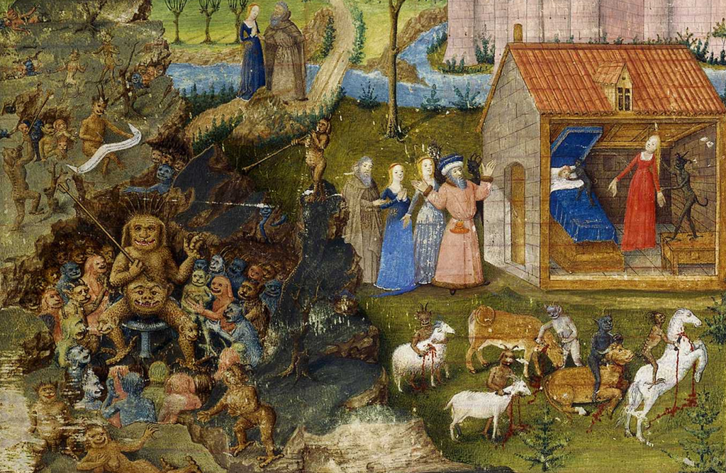 The story of Merlin's unholy birth as told in Merlin. A prose version illumination by Jean Colombe (c. 1480–1485)