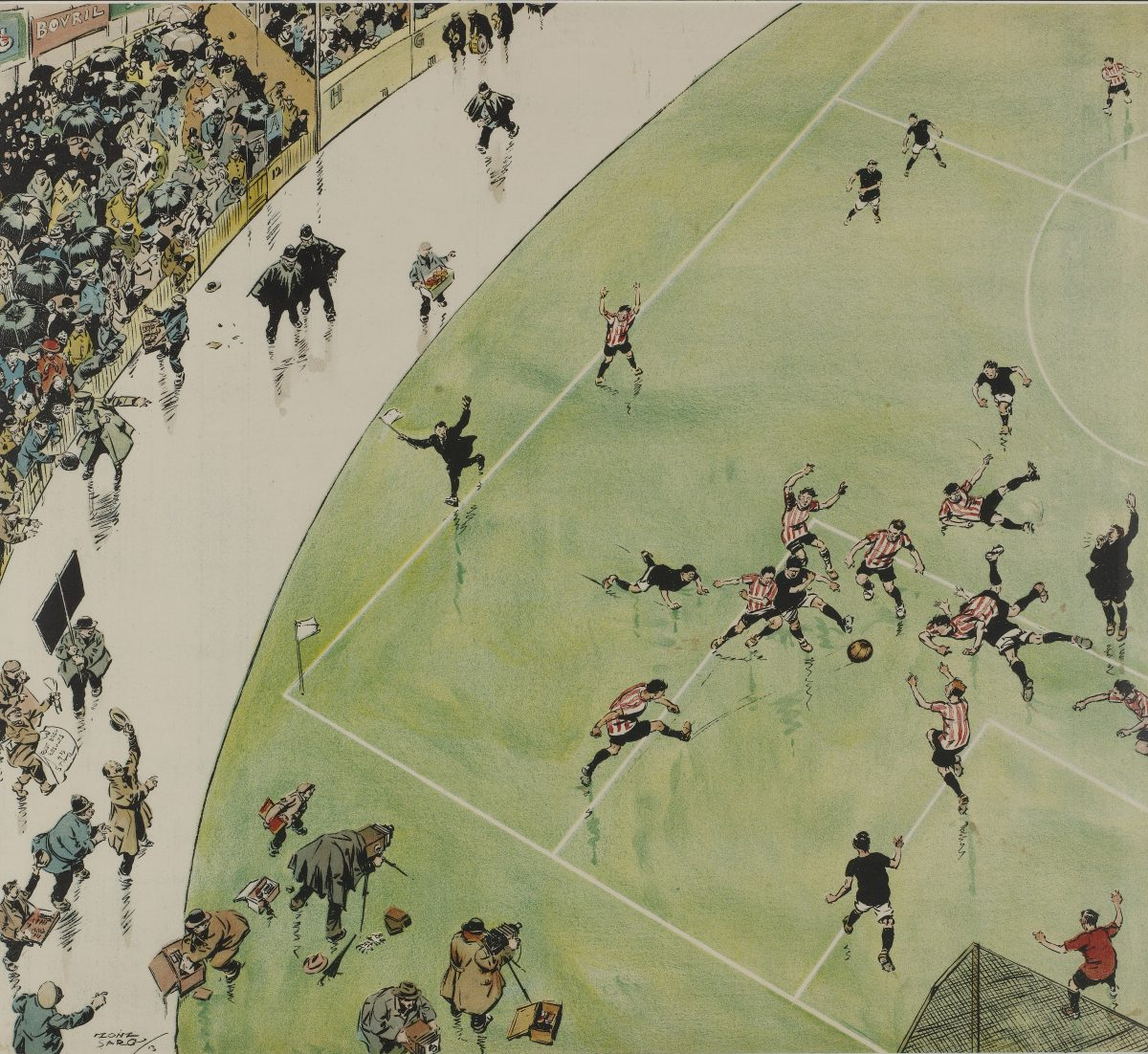 "Football Plate from ""Humours of London"" by Tony Sarg. Published by the Electric Underground Railway Company, printed by Johnson Riddle & Co. Color Print. Team playing soccer; crowd cheering. Originally large bound folio, 13 humorous scenes of London. March in the Underground calendar for 1914"