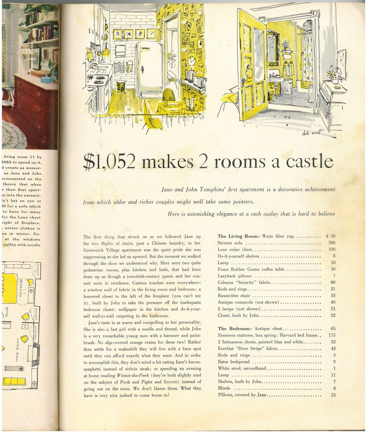 "The two page article from ""Bride and Home"" about their apartment (my mother mentioned that the editors who came to write the article were really scary fancy uptown ladies and she thought they would turn around and leave when they saw that there was a hand laundry downstairs and that they had to walk up two flights of stair"