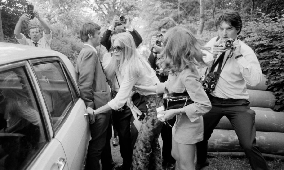 Anna Wohlin, girlfriend of Rolling Stone Brian Jones, leaves Cotchford Farm in East Sussex, after he had been found dead in the farm's swimming pool, 3 July 1969