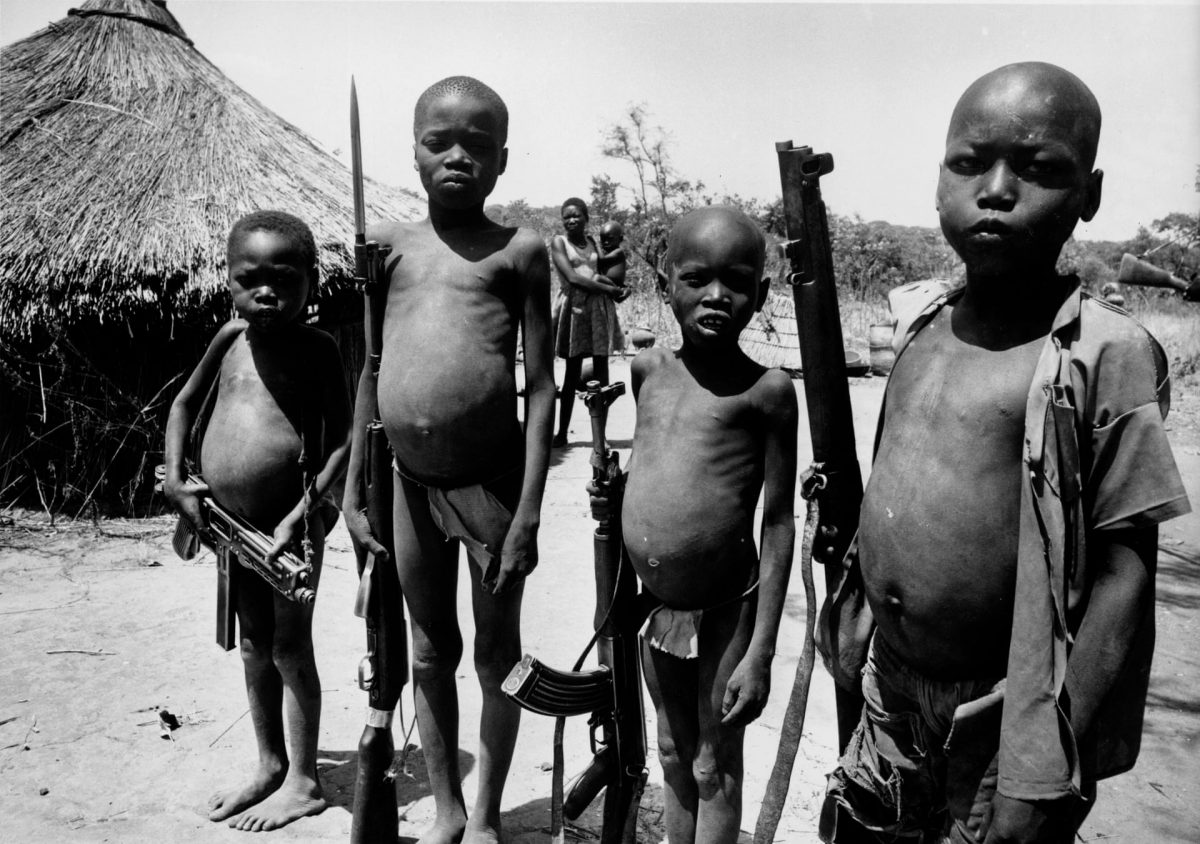 Armed children during the civil war in southern Sudan, 8 March 1971