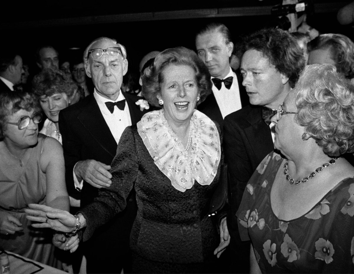 Margaret Thatcher and husband Denis attend a ball during the Conservative party conference in Brighton, 11 October 1984.