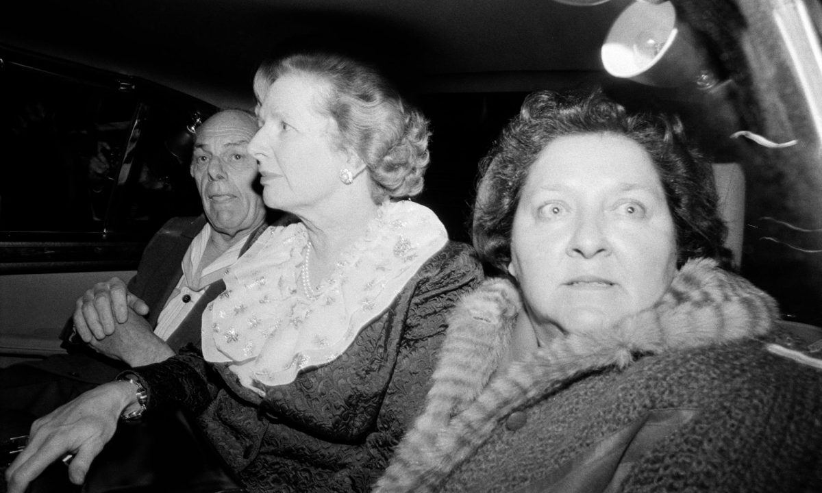 Margaret Thatcher, husband Denis and friend and aide Cynthia Crawford leave Brighton's Grand Hotel after the IRA bomb attack, 12 October 1984