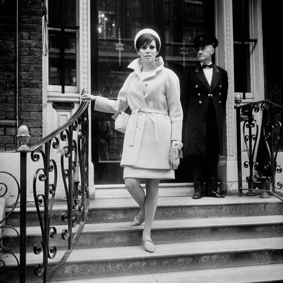Raquel Welch goes for a walk on Curzon Street, Mayfair, 4 March 1966