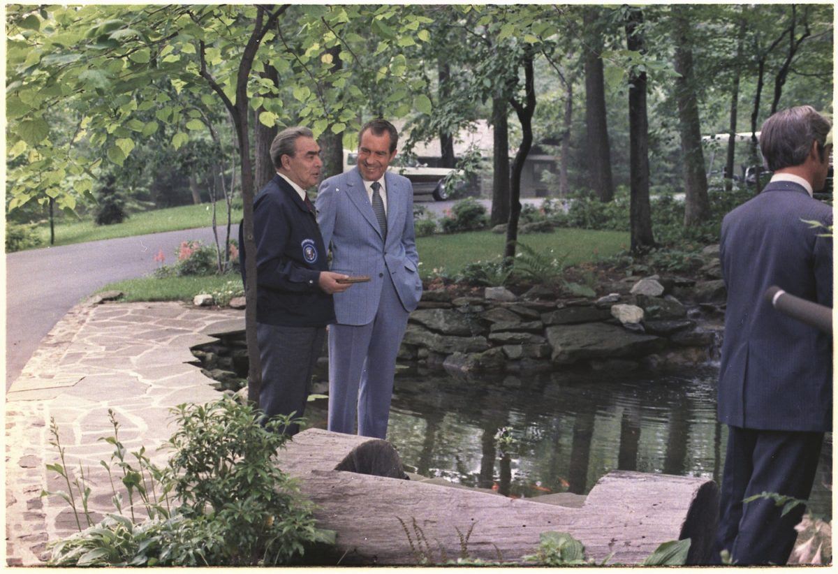Richard Nixon, Leonid Brezhnev, 1973, Camp David, Public Domain