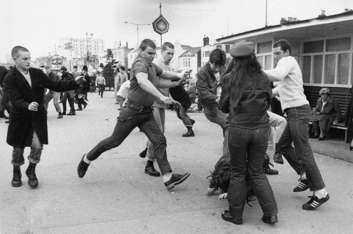 Skinheads on the attack at Southend-on-Sea, Essex, 7 April 1980.