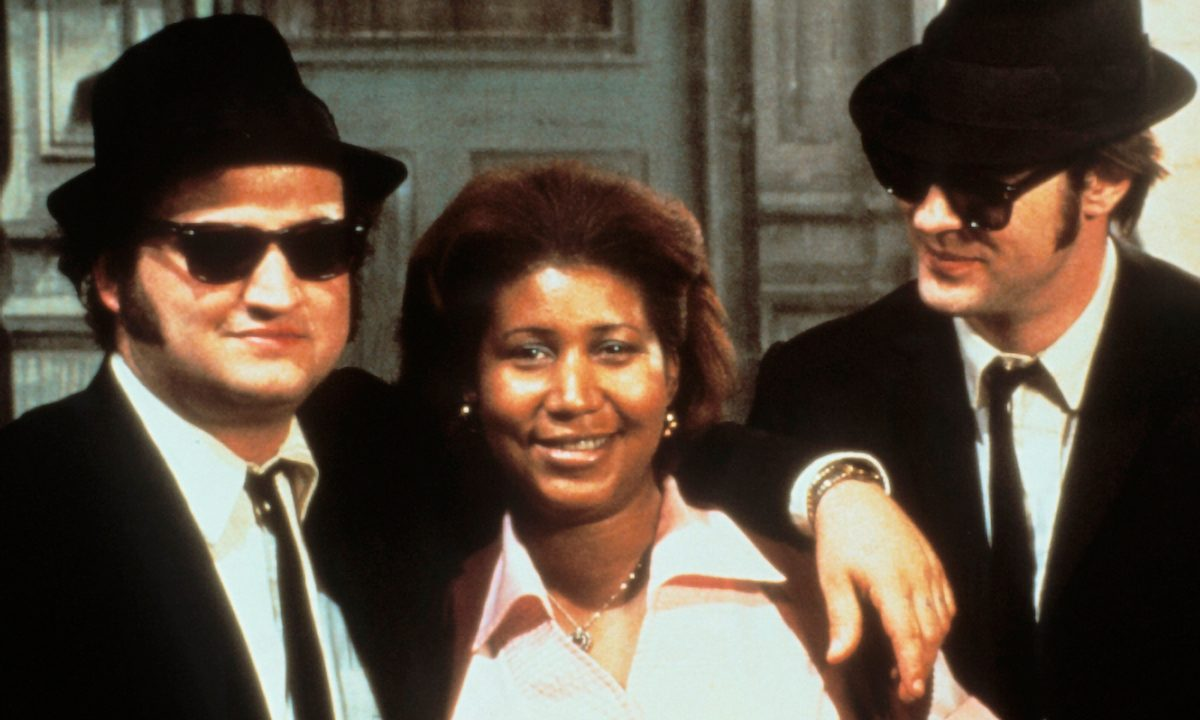 John Belushi and Dan Ackroyd with Aretha Franklin on the Set of The Blues Brothers