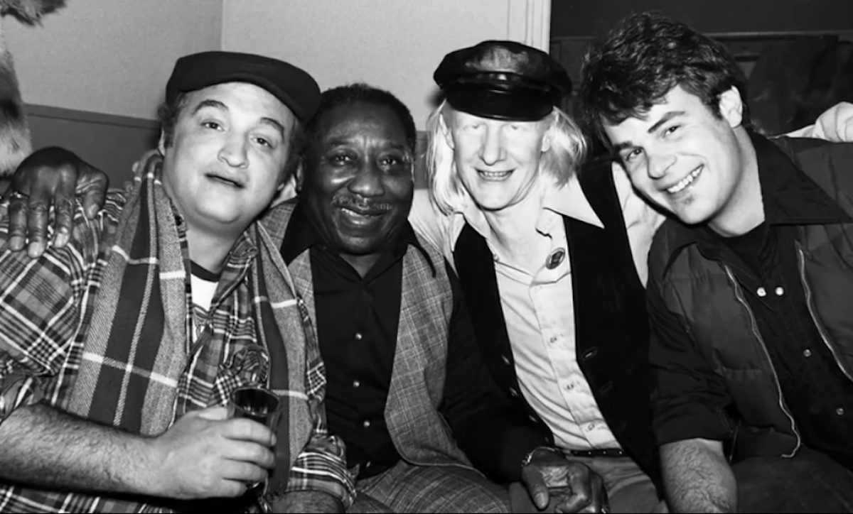 John Belushi with Muddy Waters, Johnny Winter, and Dan Ackroyd