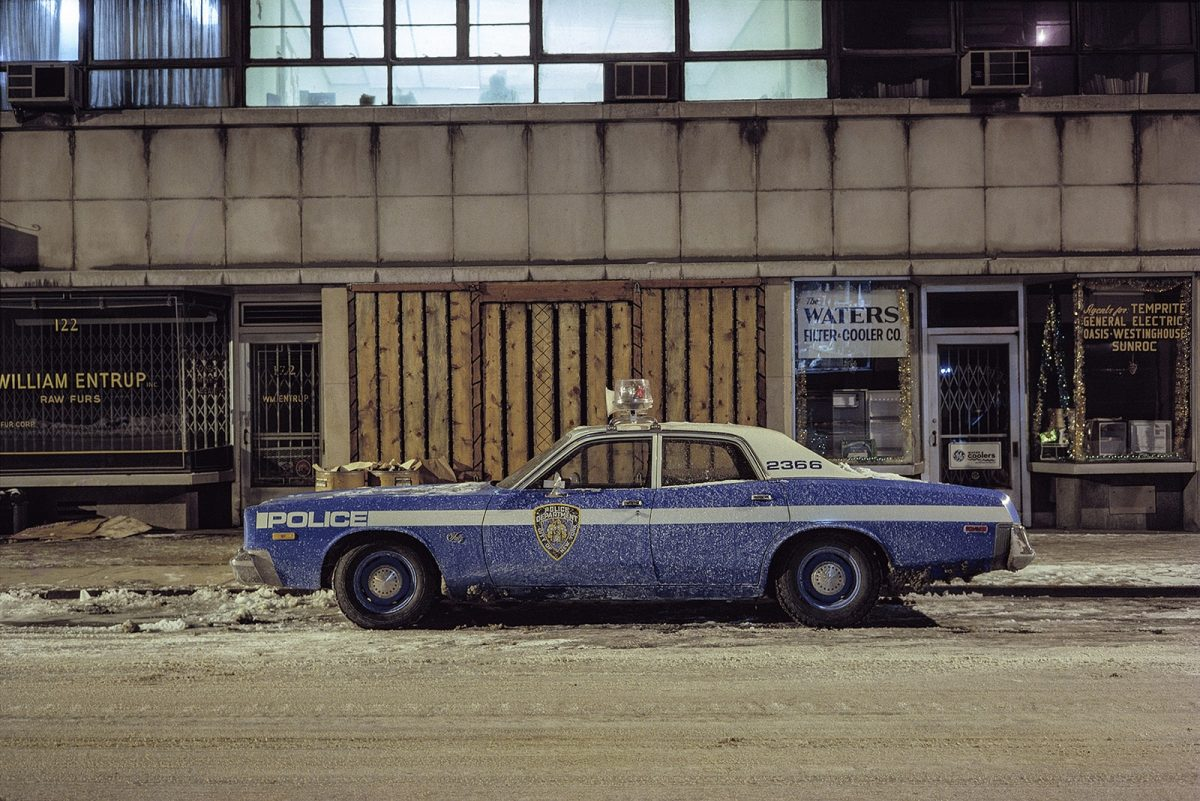 Kojak cop car, Plymouth Fury, in the Twenties garment district, 1975