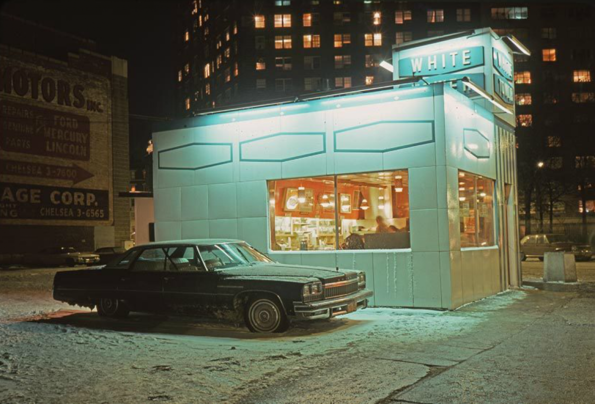 New York White Tower car, Buick LeSabre, Meatpacking District, 1976.