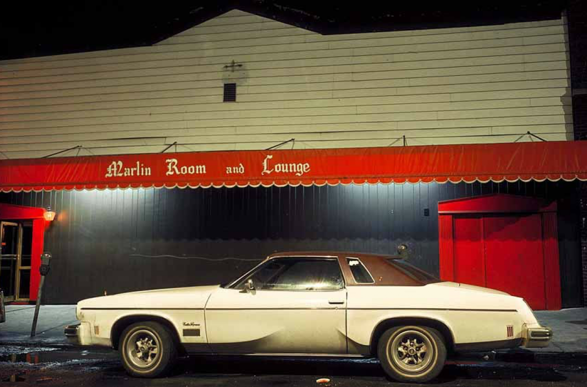 Marlin Room car, Cutlass Supreme in front of Marlin Room and Lounge connected to Clam Broth House, Hoboken, New Jersey, 1975