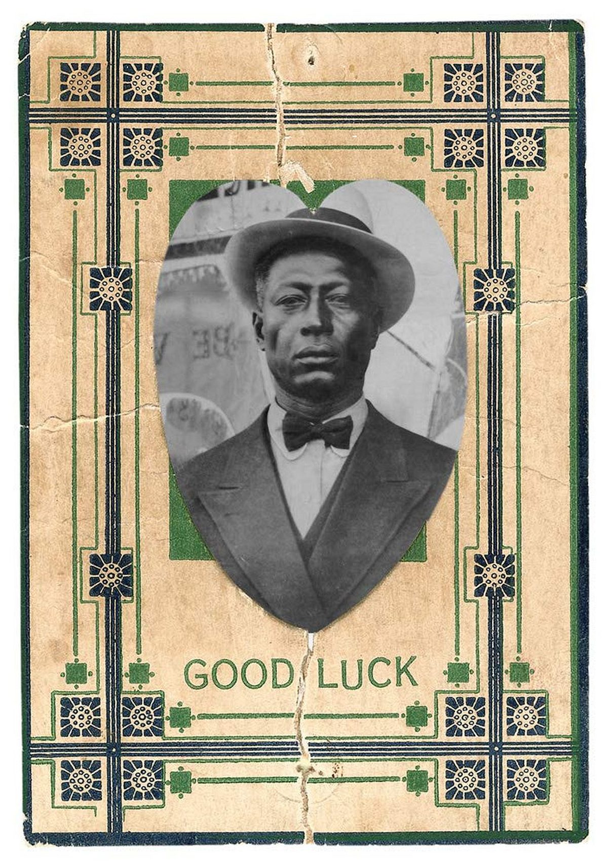 "Portrait of Lead Belly on a playing card with the caption ""Good Luck"""