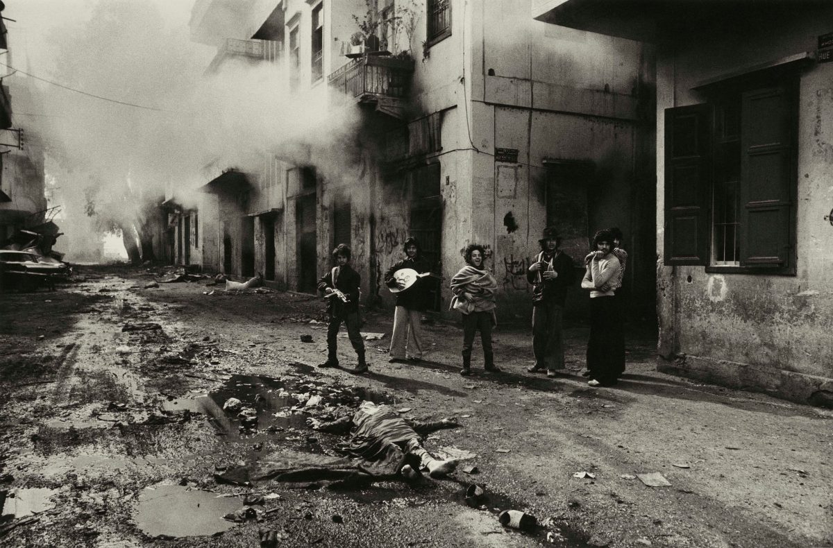 "Don McCullin, ""Young Christian Youth Celebrating the Death of a Young Palestinian Girl, Beirut,"" 1976"