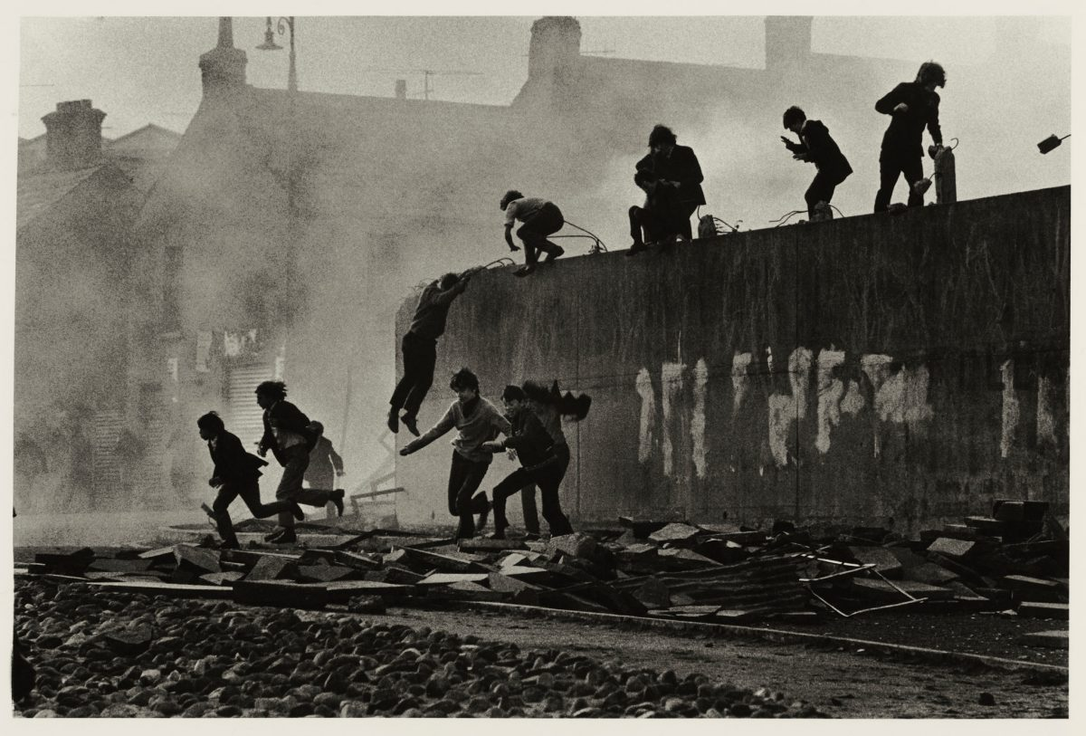 "McCullin, ""Gangs of Boys Escaping CS Gas Fired by British Soldiers, Londonderry, Northern Ireland,"" 1971"