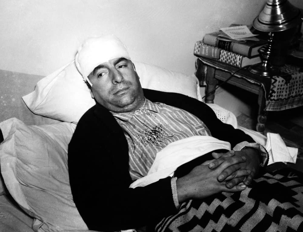 Pablo Neruda (1904-1973). Chilean Poet And Diplomat. Neruda In A Hospital In Mexico City After Being Attacked In A German Restaurant For Toasting President Franklin Roosevelt. Photographed 1948.